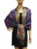 Fashion Pashmina Abstract Leaf Purple