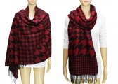 Fashion Hound Tooth Pashmina Black / Red