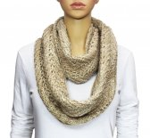 Infinity Two Color Mixed Knit Scarf Beige