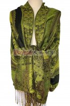 Paisley Flower Shawl Green/Black