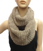 Chunky Lurex Infinity Scarf Light Brown