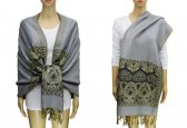 Pashmina Heart Pattern Grey