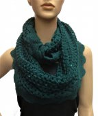 Infinity Sequin Knit Scarf S1378 Dark Green