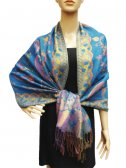 Fashion Pashmina Abstract Leaf Turquoise Blue