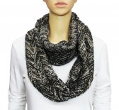 Infinity Two Color Mixed Knit Scarf Beige / Black
