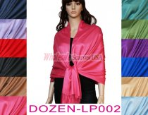 Satin Solid Pashmina 1 DZ, Asst. Color