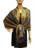 Fashion Pashmina Abstract Leaf Green