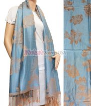 Rose Pashmina Sky Blue w/ Tan