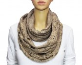 Infinity Sequin Knit Scarf Brown