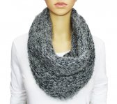 Infinity Mixed Loop Knit Scarf Grey