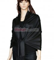 Super Solid Pashmina Black