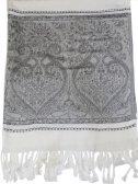 Wholesale Paisley Heart Pashmina White