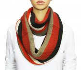 Infinity Section Multi Color Knit Scarf Orange multi