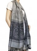 Paisley Lurex Pashmina Grey / Black
