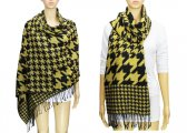 Fashion Hound Tooth Pashmina Black / Yellow