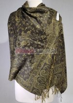 Small Paisley Scarf Dark Olive