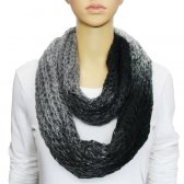 Infinity Infinity Burned Two Tone Knit Scarf Black / Grey