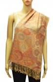 Fashion Paisley and Pattern Pashmina Golden