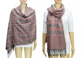 Fashion Hound Tooth Pashmina Pink / Grey