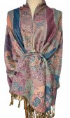 Paisley Flower Shawl Pale Violet Red